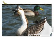 Mallard And Chinese Swan Goose - Anser Cygnoides - Featured In Wildlife Group Carry-all Pouch
