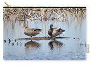 Mallard Ducks Sitting On A Sandbar  Carry-all Pouch