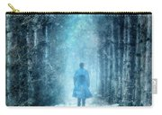 Man Walking Through Snowy Woods Carry-all Pouch