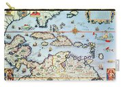 Map Of The Caribbean Islands And The American State Of Florida Carry-all Pouch