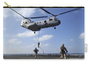 Marines Fast Rope From A Ch-46e Sea Carry-all Pouch