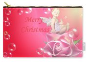 Merry Christmas Cherub And Rose Carry-all Pouch