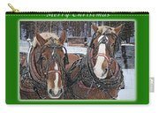 Merry Christmas Horses At Sawmill Carry-all Pouch