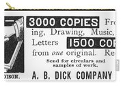Mimeograph Ad, 1890 Carry-all Pouch