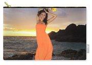 Model In Orange Dress Carry-all Pouch