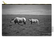 Mom And Child Black Rhinos Carry-all Pouch