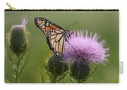 Monarch Butterfly On Bull Thistle Wildflowers Carry-all Pouch