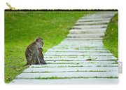 Monkey Mother With Baby Resting On A Walkway Carry-all Pouch