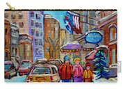 Montreal Street Scenes In Winter Carry-all Pouch by Carole Spandau