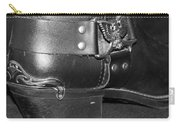 My Biker Cowboy Boot In Black And White Carry-all Pouch