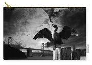 Night Of The Cormorant . Black And White Carry-all Pouch