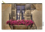 Old Balcony With Red Flowers Carry-all Pouch by Mats Silvan