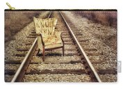 Old Chair On Railroad Tracks Carry-all Pouch