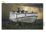 Old Fishing Boat On Shore With Storm Moving In Carry-all Pouch