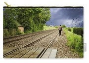 Old Man Walks Along Train Tracks Carry-all Pouch