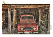 Old Red Car In A Wood Garage Carry-all Pouch