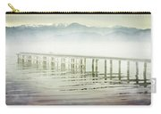 Old Wooden Bridge Into A Mountain Lake On A Foggy Morning Carry-all Pouch