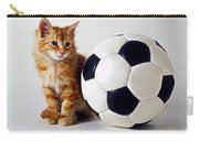 Orange And White Kitten With Soccor Ball Carry-all Pouch