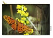 Orange Butterfly On Yellow Wildflower Carry-all Pouch