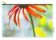 Orange Coneflower On Green And Yellow Carry-all Pouch