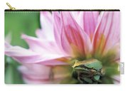 Pacific Tree Frog In A Dahlia Flower Carry-all Pouch