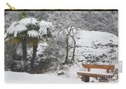 Palm Tree And A Bench With Snow Carry-all Pouch
