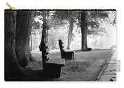 Park Bench In Black And White Carry-all Pouch