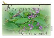 Party Invitation - General - American Beautyberry Shrub Carry-all Pouch by Mother Nature