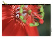 Passiflora Vitifolia Scarlet Red Passion Flower Carry-all Pouch by Sharon Mau