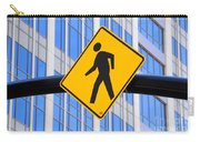 Pedestrian Crosswalk Sign In Business District Carry-all Pouch by Gary Whitton