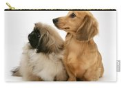 Pekingese And Dachshund Puppies Carry-all Pouch