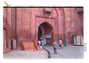 People Entering The Entrance Gate To The Red Colored Red Fort In New Delhi In India Carry-all Pouch
