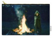 Person Standing By A Bonfire In The Moonlight Carry-all Pouch