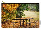 Picnic Table With Autumn Leaves Carry-all Pouch by Elena Elisseeva