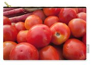 Pile Of Red Luscious Tomatoes Along With Carrots On A Vegetable Basket Carry-all Pouch