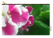 Pink African Violets And Leaves Carry-all Pouch