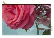 Pink And Aqua Roses Carry-all Pouch