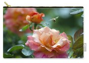 Pink And Orange Floribunda Rose With Bee Carry-all Pouch