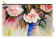Pink And Red Peony Roses In A Tall Blue Porcelain Vase Carry-all Pouch