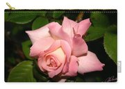Pink And White Rose Carry-all Pouch