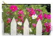 Pink Cosmos Flowers And White Picket Fence Carry-all Pouch