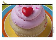 Pink Cupcake With Red Heart Carry-all Pouch