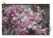 Pink Flowering Crabapple And Grunge Carry-all Pouch