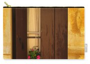 Pink Geraniums Brown Shutters And Yellow Window In Italy Carry-all Pouch