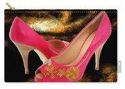Pink Peeptoe Pumps With Swarovski Crystals Carry-all Pouch