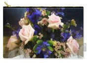 Pink Roses And Purple Delphinium Carry-all Pouch
