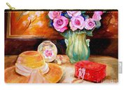 Pink Roses In A Green Vase With A String Of Pearls And A Pretty Summer Straw Hat  Carry-all Pouch
