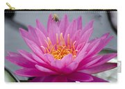 Pink Water Lily Rose Arey With Bee Carry-all Pouch