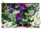 Planter Of Purple Pansies And White Alyssum Carry-all Pouch