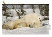 Polar Bear With Cub In Snow Carry-all Pouch